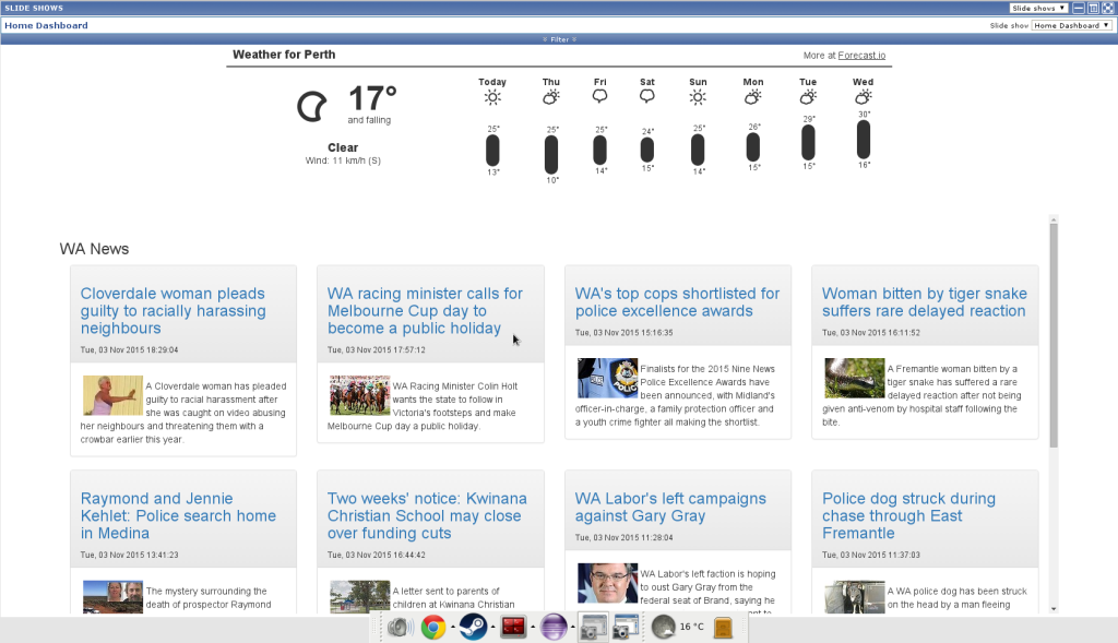 This is my WA News screen. The National and World News screens are pretty much the same.