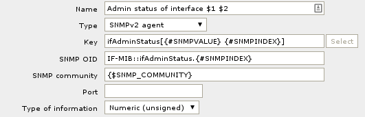 This is what the 'Admin status of Interface' item prototype looks like