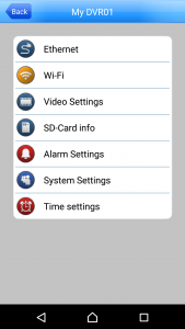 The settings menu in the App allow you to configure some of the important settings of the camera like WiFi connection and motion detection.