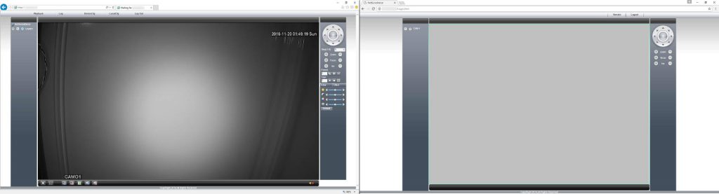 You can see the differences in the interface with IE on the left and Chrome on the right. Chrome is missing a lot of functionality that is present in IE.